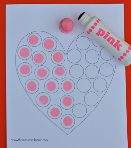 Free printable do a dot worksheet perfect for Valentine Day.
