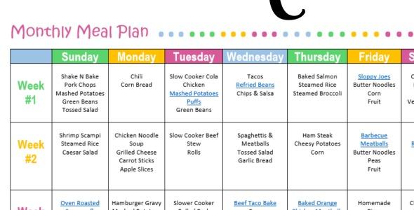 weekly meal plans free
