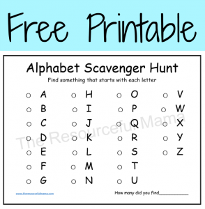 Free printable alphabet scavenger hunt-great for kindergartners learning sounds or a challenge for kids