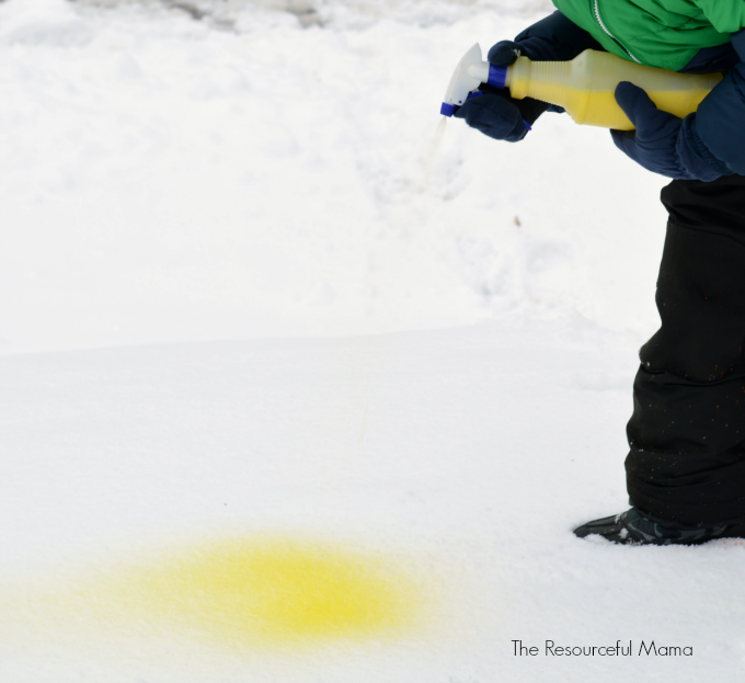Painting the snow is a fun wintertime snow activity for kids with this DIY snow paint.