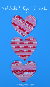Washi tape valentine's day heart craft for kids