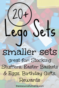 So many great uses for smaller Lego sets: stocking stuffers, Easter baskets, Easter eggs, birthday gifts, and rewards.