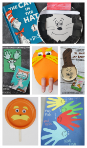 Dr. Seuss book inspired crafts for kids (The Cat in the Hat, The Lorax, One Fish Two Fish Red Fish Blue Fish and more)