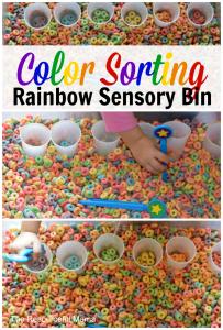color sortin rainbow sensory bin verical collage