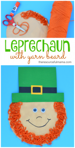 Paper plate leprechaun with yarn beard-great St. Patrick's Day craft for kids
