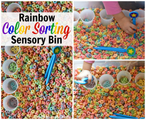Rainbow color sorting sensory bin great indoor activity for toddlers and preschoolers great for colors, sorting, and fine motor skills.