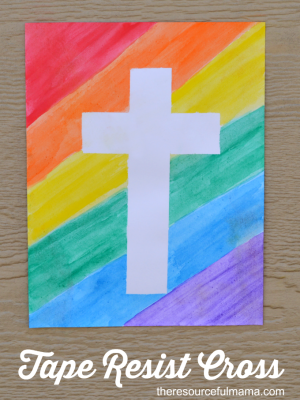 Tape Resist Easter Cross Craft