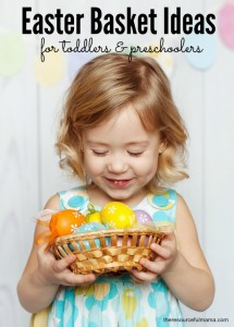 Lots of great ideas for filling toddler and preschooler Easter baskets that are not candy.