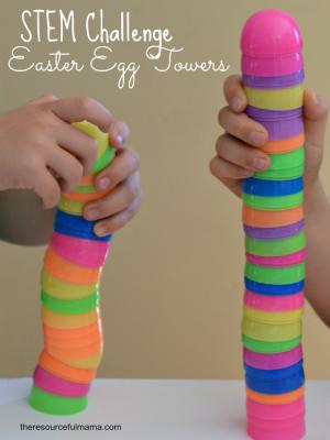Plastic Easter Egg Towers Stem Challenge