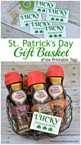 St. Patrick's Day gift basket with free printable gift tag and NESTLÉ® COFFEE-MATE® Liquid Coffee Creamer. Perfect for neighbors, teachers, friends, sisters, moms, bosses.