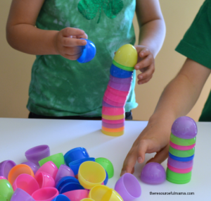 This Easter egg towers STEM challenge is a fun activity that uses plastic Easter eggs. It will get kids talking about what makes a strong and stable building.