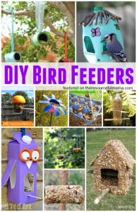 10 amazing homemade bird feeders from your recyclables. These bird feeders are a great way to protect and care of our planet, celebrate Earth Day, and do an inexpensive project with your kids.
