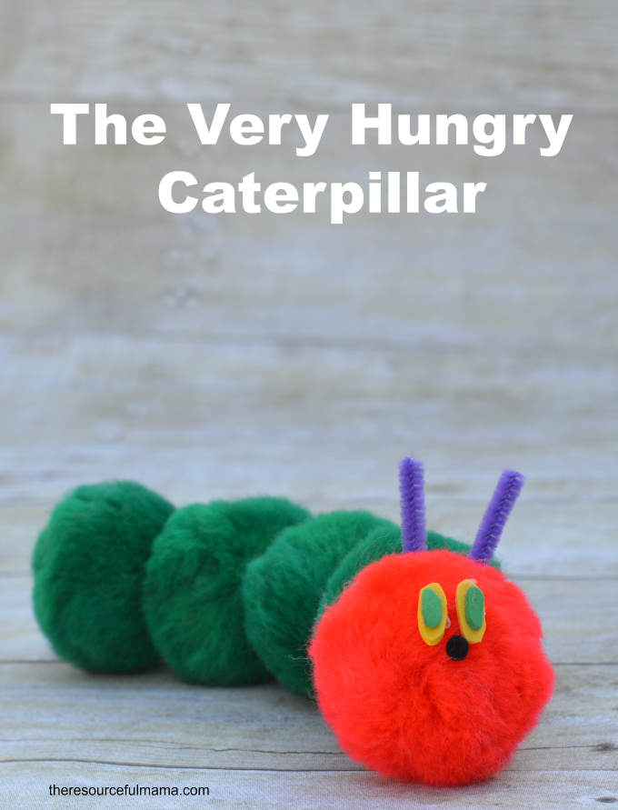 Pom pom kid craft inspired by The Very Hungry Caterpillar