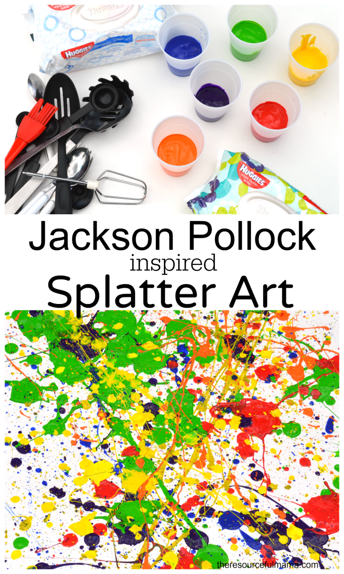 Jackson Pollock inspired splatter art project. Kids of all ages will enjoy this fun process art project. It's a great outdoor summertime art project for kids.