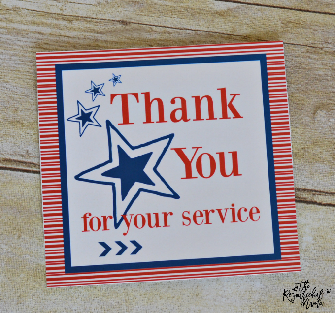 This free printable thank you card is a great way to thank our troop for their service or a great a addition to a military care package.