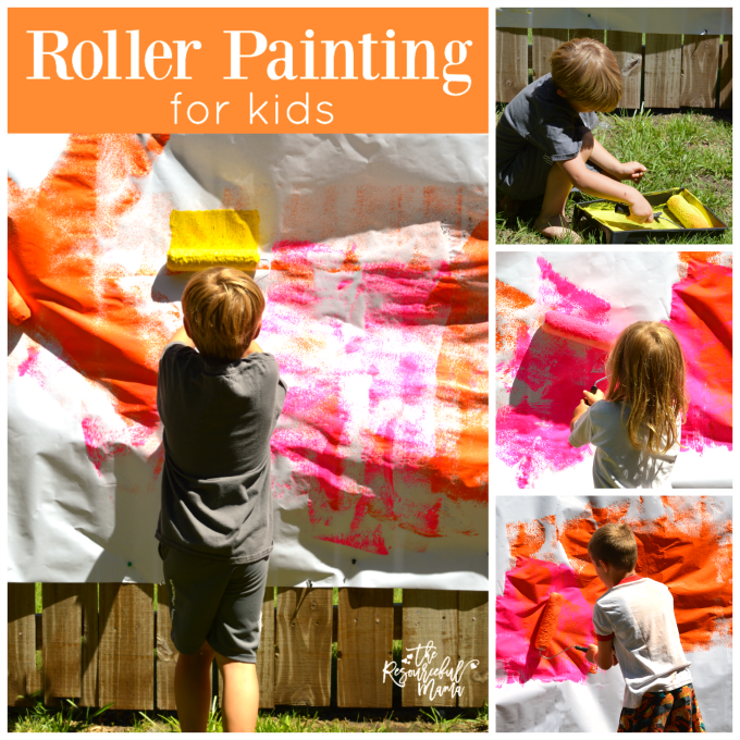 roller painting for kids square collage