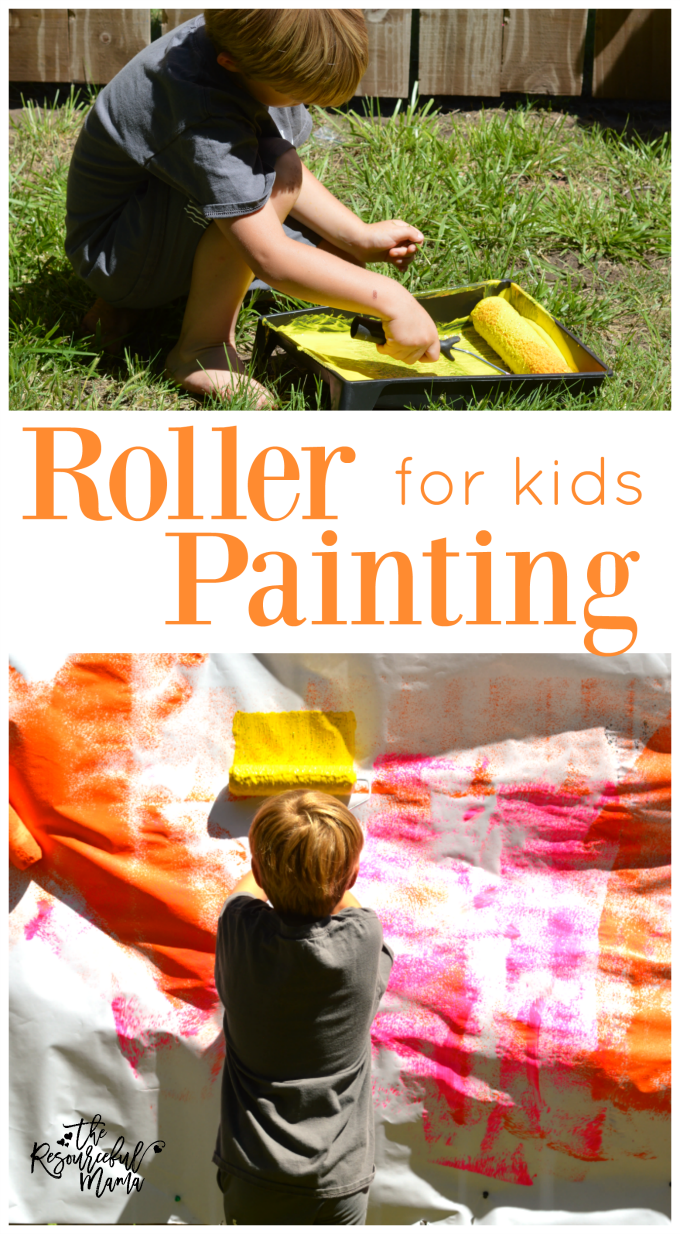 My kids love to help roller paint! This is a great way to for them to roller paint freely. kids|process art|summer|outdoor activity|preschool|kindergartener|school age kids|painting
