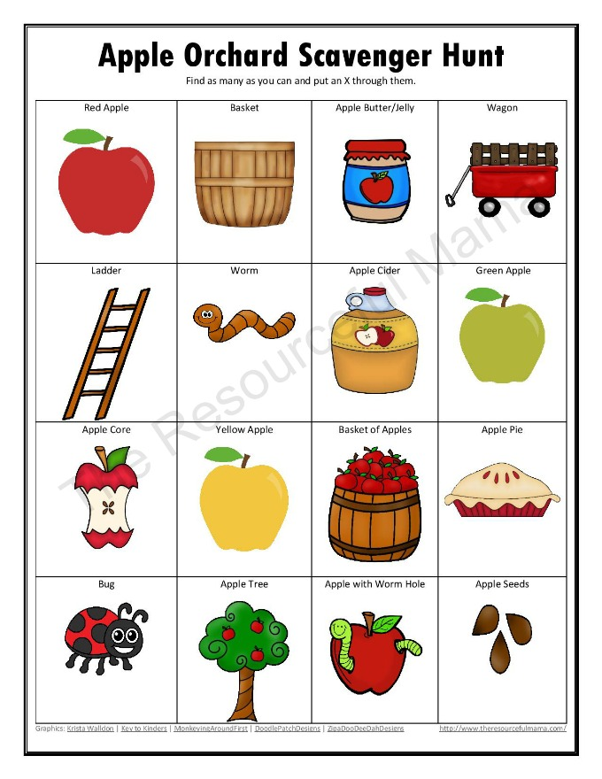 Free printable apple orchard scavenger hunt for kids to do this fall.