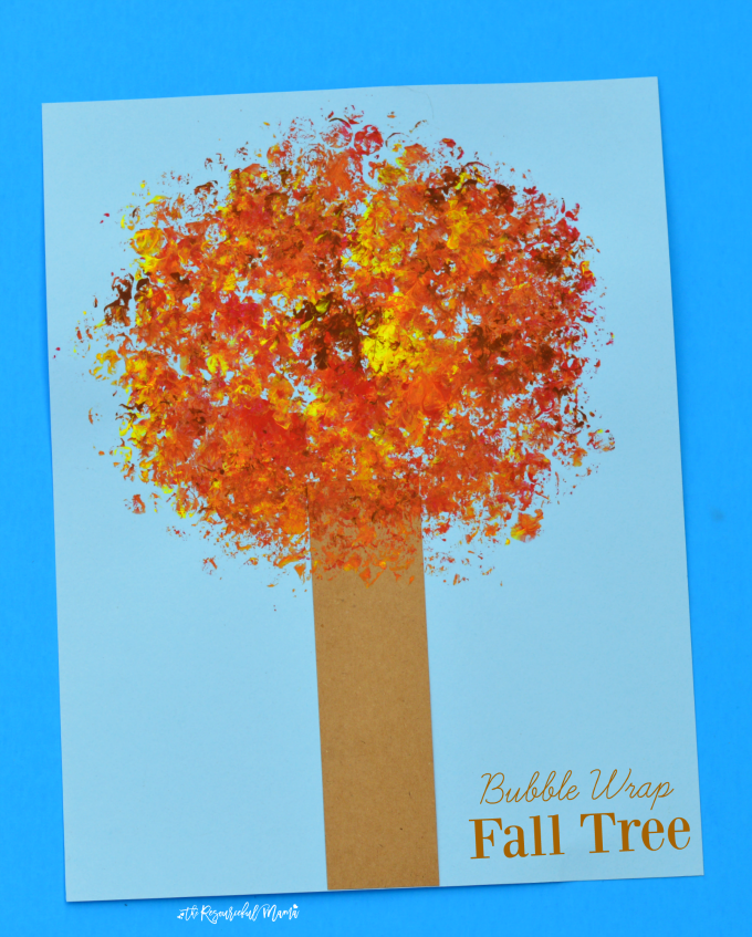 Kids will love trading in their paintbrushes and use bubble wrap to paint the leaves on this fall tree kid craft.