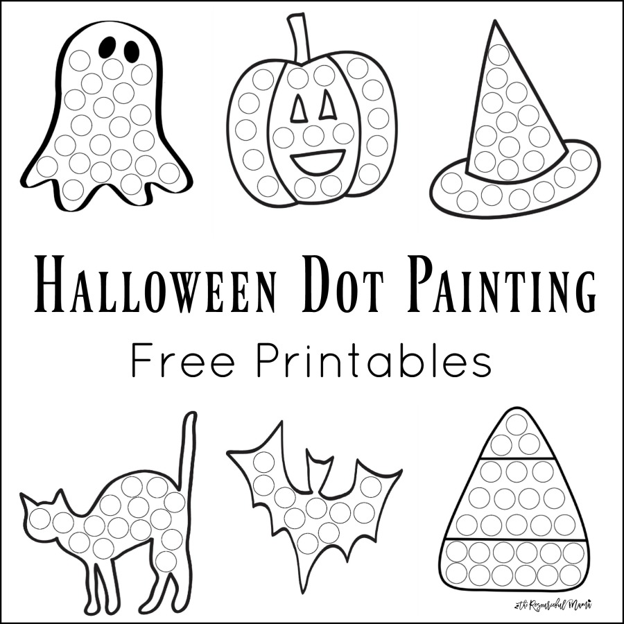 These Halloween Dot Painting worksheets are a fun mess free painting activity for young kids that work on hand-eye coordination and fine motor skills. Grab your free printable now! Toddlers and preschoolers love them. They work great with Do a Dot Markers.