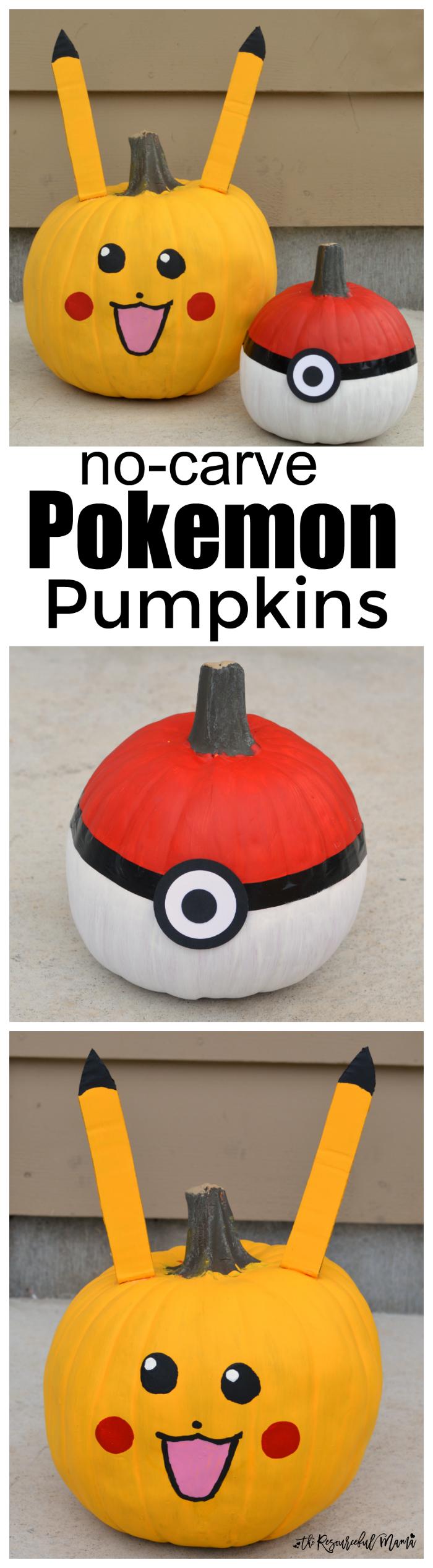 No-carve Poke Ball and Pikachu Pokemon Pumpkins for Halloween.
