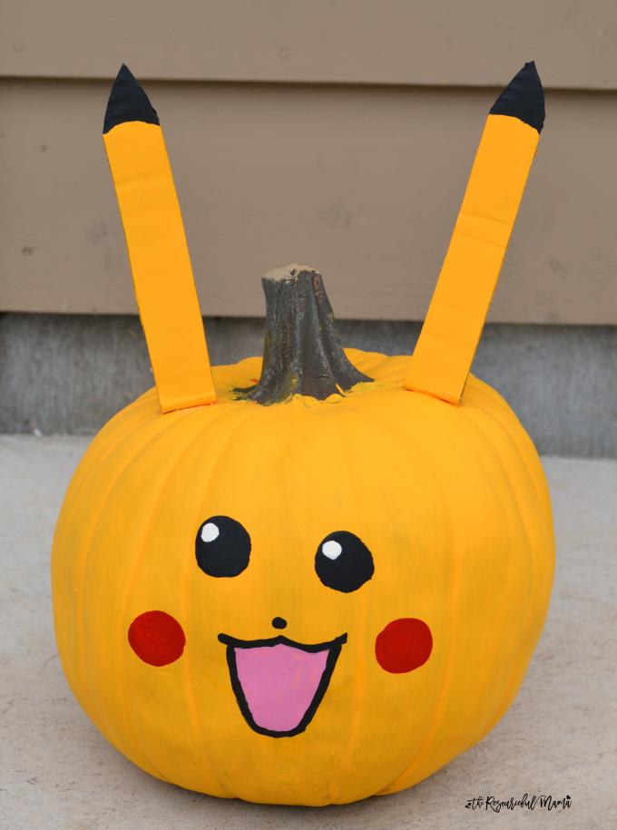 No-carve Pikachu Pokemon Pumpkins for Halloween.