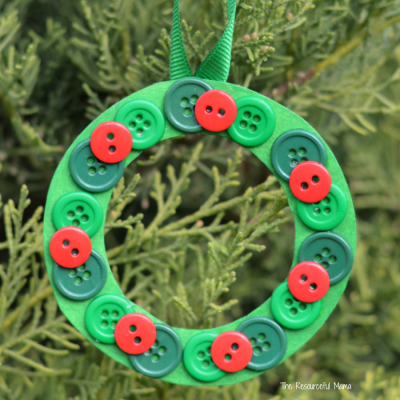 Homemade Button Wreath Christmas Ornament