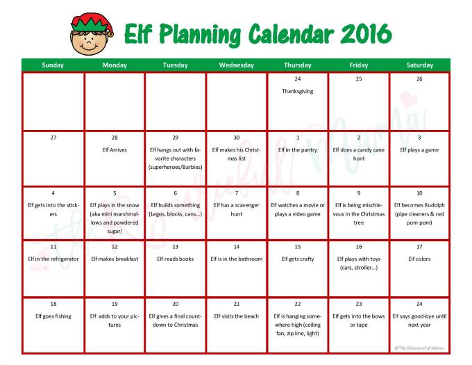 Elf on the Shelf Planning Calendar - The Resourceful Mama