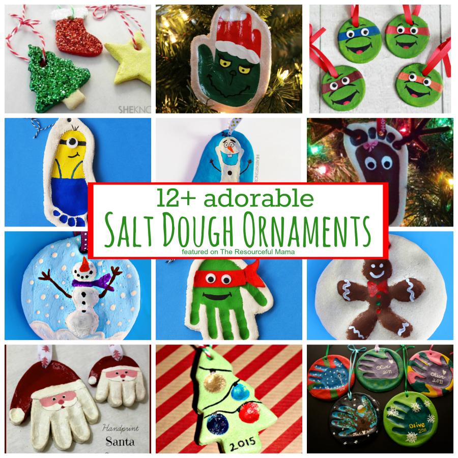 Adorable homemade salt dough ornaments for Christmas. handprint ornament | footprint ornaments | santa ornaments | reindeer ornament | Olaf ornament | Minion ornament | Teen Mutant Ninja Turtle Ornament | fingerprint ornament | kid ornaments