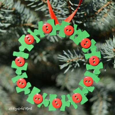 Homemade Puzzle Pieces Wreath Ornament