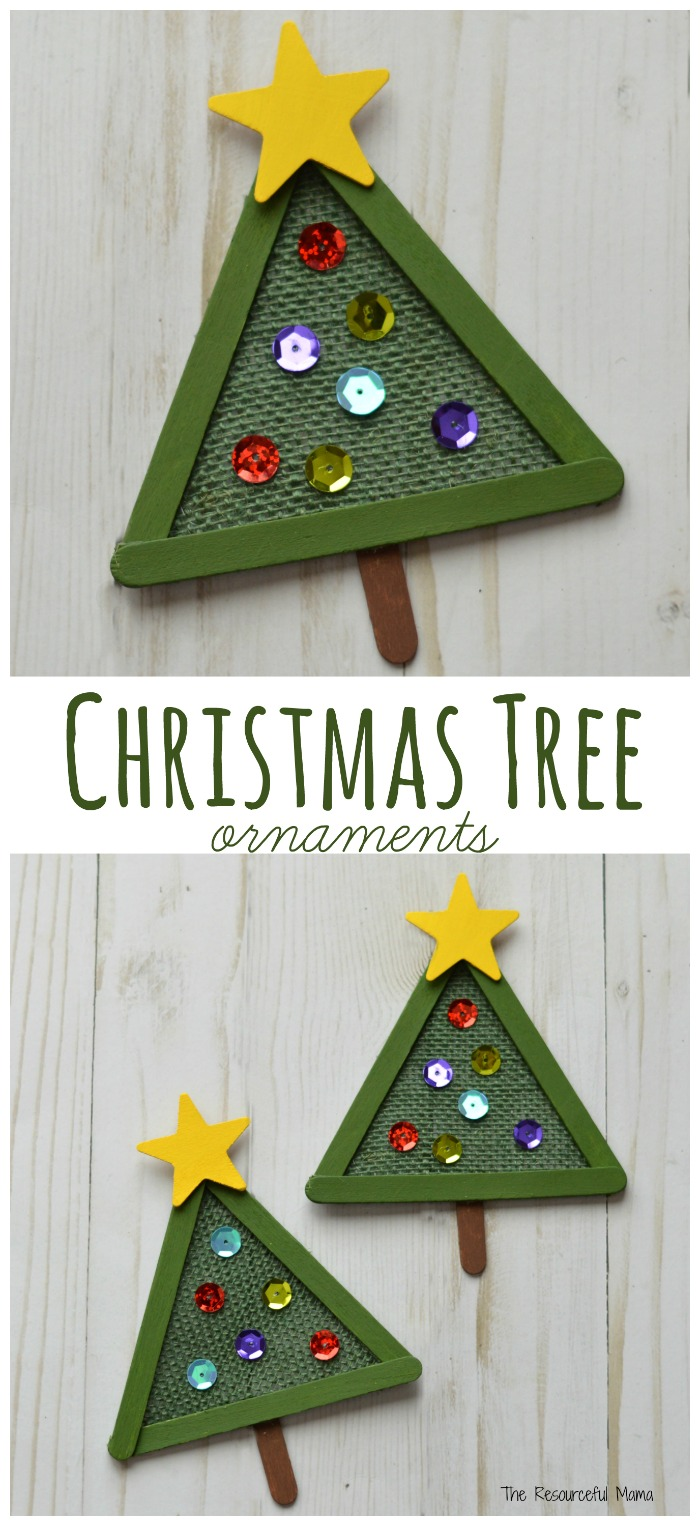 This Christmas Tree Ornament combines burlap, craft sticks and few other craft items in a lovely ornament for your Christmas tree.