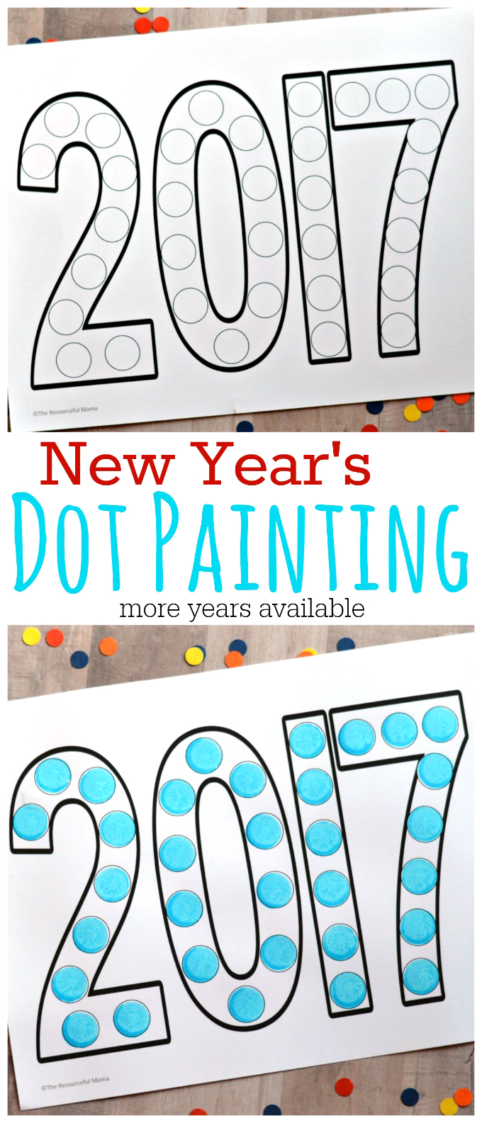 This dot painting activity is a fun way to involve kids in the New Year festivities. Free Printable | Do a Dot | New Year's Eve | Year activity