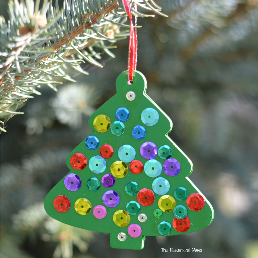 Add some shine to your Christmas tree with these wooden kid made tree ornaments.