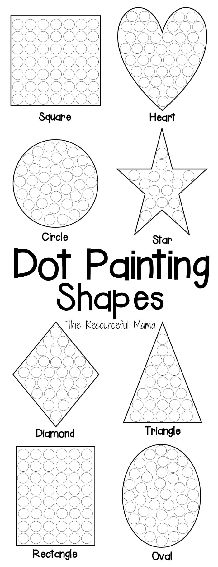 These shapes dot painting worksheets offer kids a fun hands on way to ...