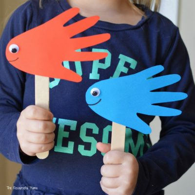 Red Fish Blue Fish Handprint Puppets