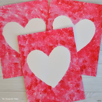 Sponge Painted Hearts Valentine's Day Art Project