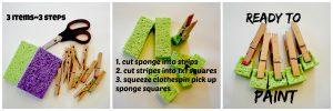 3 step sponge clothespin painter