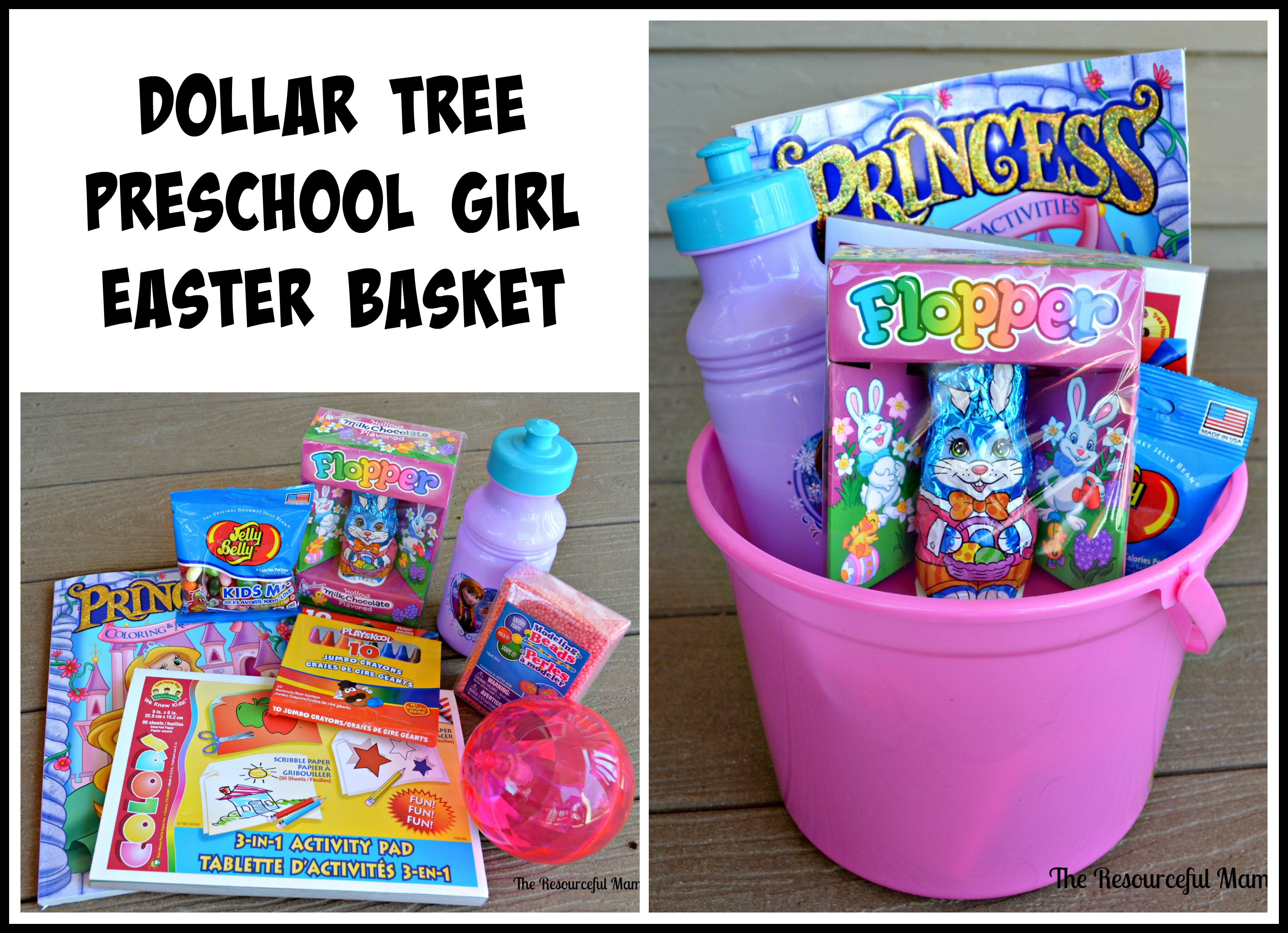 Dollar tree easter baskets the resourceful mama dollar tree preschool girl easter basket negle Choice Image