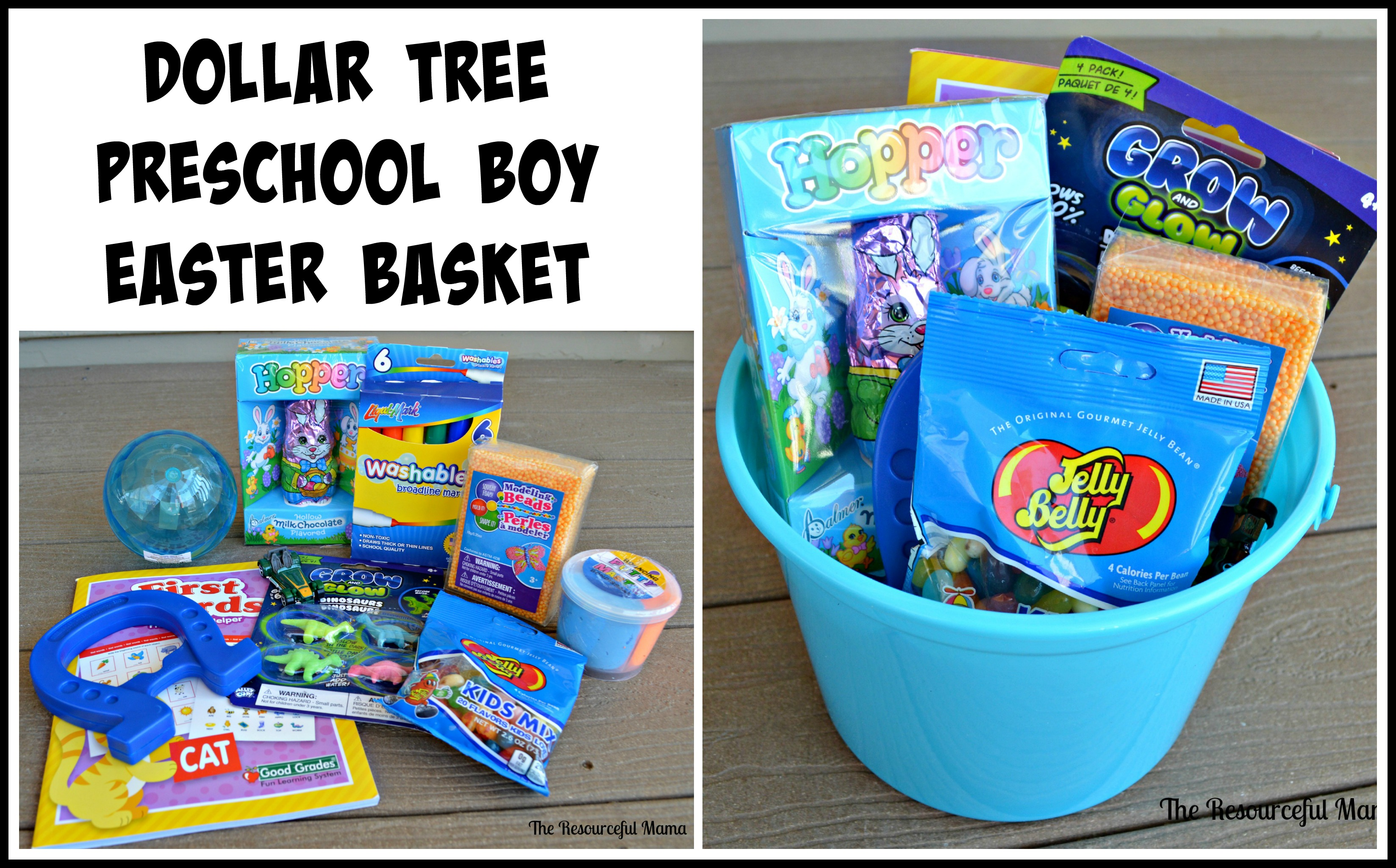 Dollar tree easter baskets the resourceful mama dollar tree easter basket for a preschool boy negle Choice Image