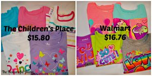 Price comparison The Children's Place and Walmart