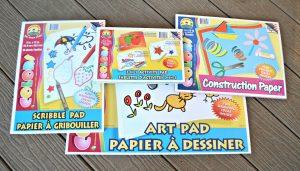 Dollar Tree art pads & construction paper