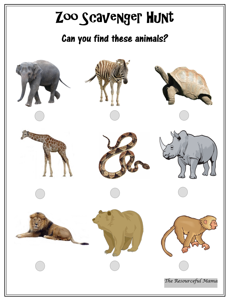 It is an image of Crafty Zoo Scavenger Hunt Printable