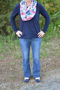 gapshirt-meronascarf-dknyjeans-ninewestshoes