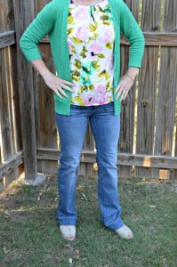 what i wore spring loft jeans, merona floral sheel, banana republic cardigan