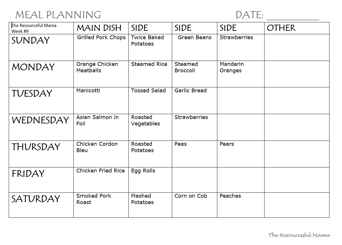 meal planner for a week