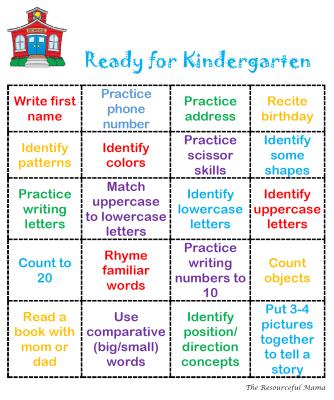 Free printable bingo card to help get your preschooler ready for kindergarten