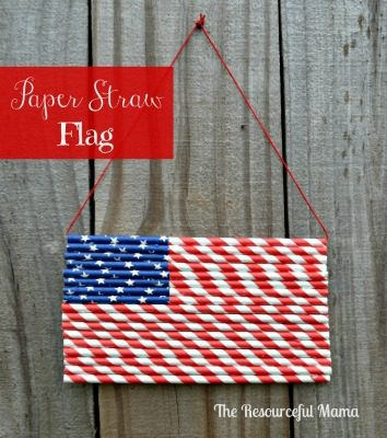 Patriotic Paper Straw Flag