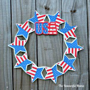 DIY Patriotic wreath made from Dollar Tree items.