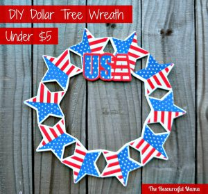 DIY dollar tree patriotic wreath for under $5. Great for 4th of July or Memorial Day.