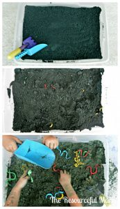 "Kids will have so much fun playing in this ""dirt"". It is super easy to make and clean up. You only need two items: baking soda and food coloring."